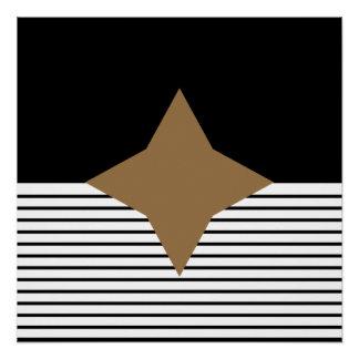 白黒のオップアートのブラウンのダイヤモンド ポスター
