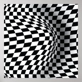 白黒のオップアートの目の錯覚の抽象芸術のプリント ポスター
