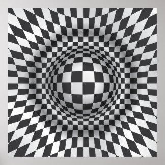 白黒のオップアートの目の錯覚プリントかポスター ポスター