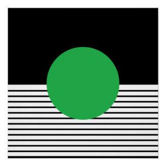 白黒のオップアートの緑の円 ポスター