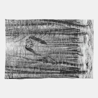 白黒のカラフトフクロウ キッチンタオル