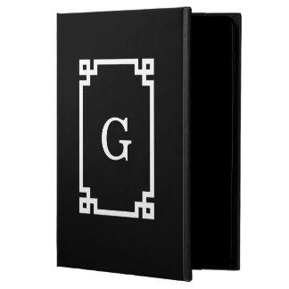 白黒のギリシャ人の鍵フレーム#2の最初のモノグラム iPad AIRケース