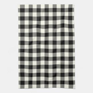 白黒のギンガムパターン台所タオル キッチンタオル
