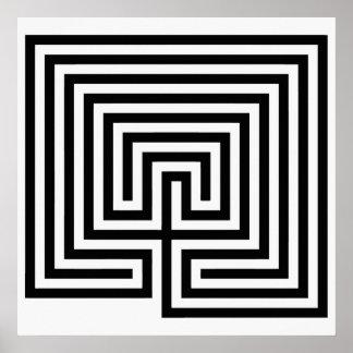 白黒のクレタの迷路 ポスター