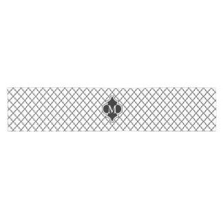 白黒のクローバーパターンのモノグラム ショートテーブルランナー