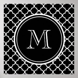 白黒のクローバーパターン、あなたのモノグラム ポスター