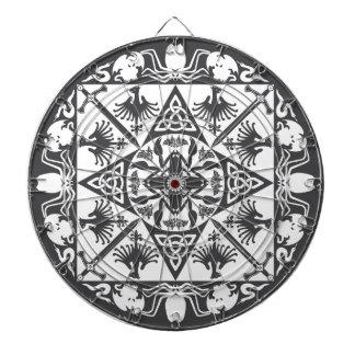 白黒のケルト族の中世ファンタジーのダート盤 ダーツボード