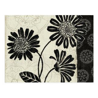 白黒のコンテンポラリーな花模様 ポストカード