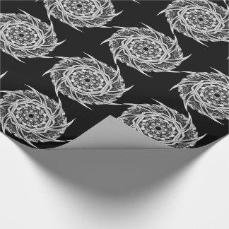 白黒のゴシック様式花 ラッピングペーパー