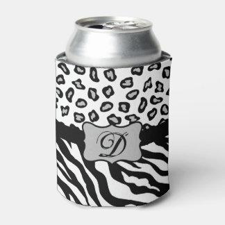 白黒のシマウマのヒョウの皮のモノグラム 缶クーラー