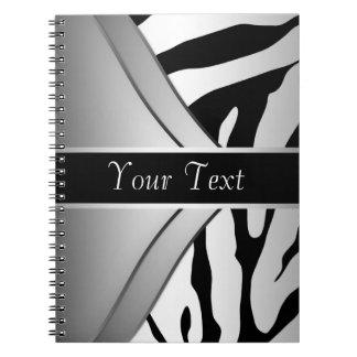 白黒のシマウマの螺線形ノート ノートブック