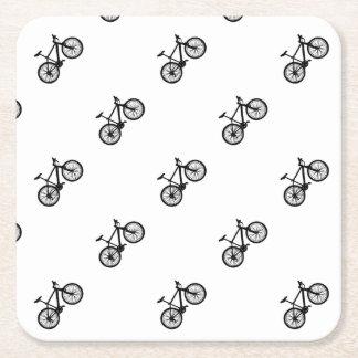 白黒のシンプルな手描きの自転車 スクエアペーパーコースター