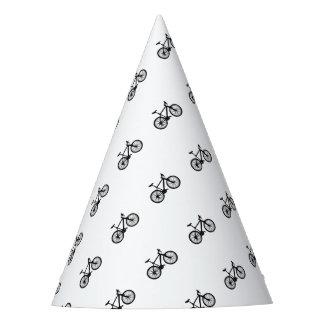 白黒のシンプルな手描きの自転車 パーティーハット