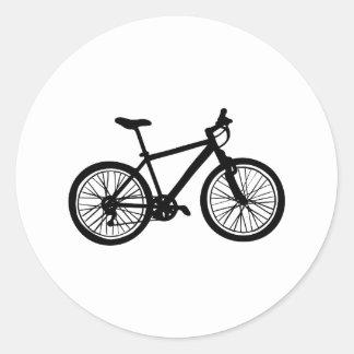 白黒のシンプルな手描きの自転車 ラウンドシール