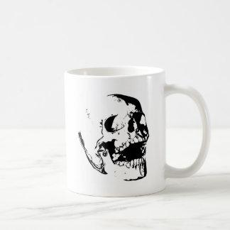 白黒のスカル コーヒーマグカップ