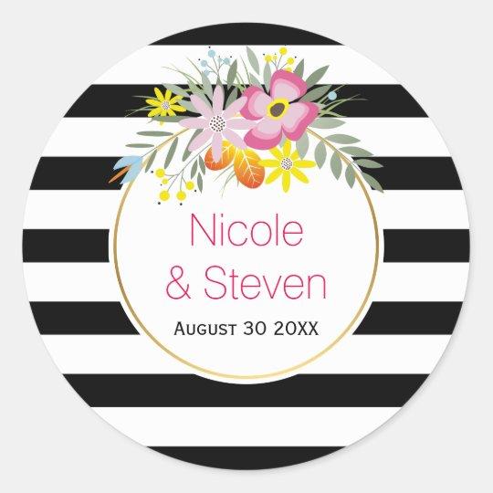 白黒のストライブ柄及びピンクの花のモダンな結婚式 丸型シール