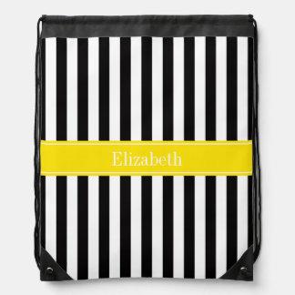 白黒のストライプで黄色い一流のモノグラム ナップサック