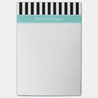 白黒のストライプなターコイズのリボンの名前のモノグラム ポストイット