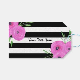 白黒のストライプのピンクのRanunculusの花柄 ギフトタグ