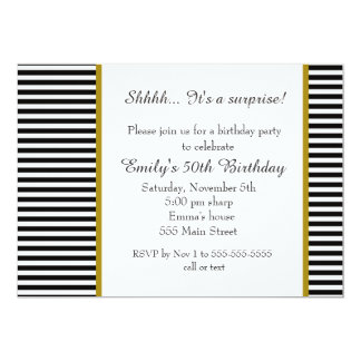 白黒のストライプの大人の誕生日の招待状 12.7 X 17.8 インビテーションカード
