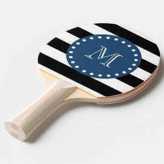 白黒のストライプパターン、濃紺のモノグラム 卓球ラケット