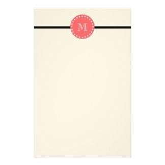 白黒のストライプパターン、珊瑚のモノグラム 便箋