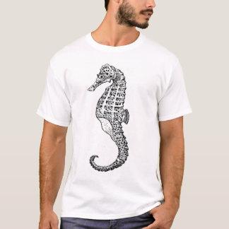 白黒のタツノオトシゴ Tシャツ