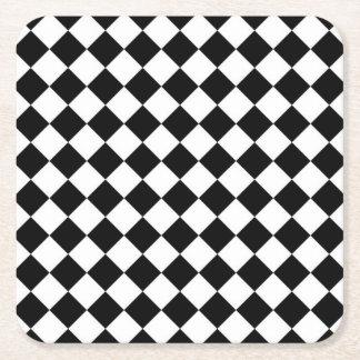 白黒のダイヤモンドのチェッカーボード スクエアペーパーコースター