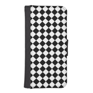 白黒のダイヤモンドのチェッカーボード iPhoneSE/5/5sウォレットケース