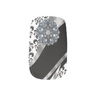 白黒のダマスク織のラインストーンパターン ネイルアート