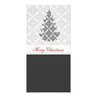 白黒のダマスク織の休日 カード