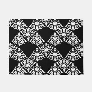 白黒のダマスク織の格子玄関マット ドアマット