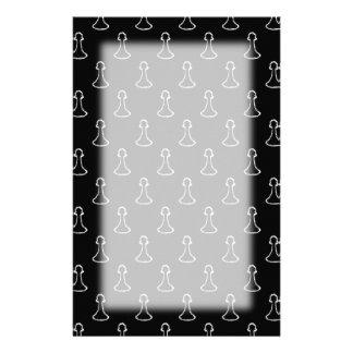 白黒のチェスパターン。 便箋