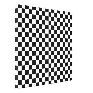 白黒のチェッカーボードの抽象芸術パターン キャンバスプリント