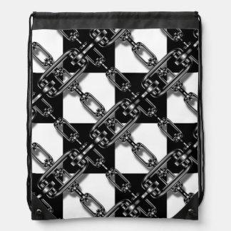 白黒のチェーン・リンクのギンガムのドローストリングバッグ ナップサック