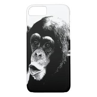 白黒のチンパンジー iPhone 8/7ケース