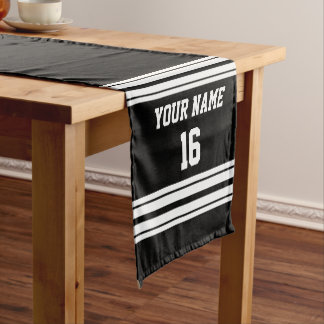 白黒のチームジャージーカスタムな数名前 ショートテーブルランナー