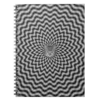 白黒のノートの円の波 ノートブック