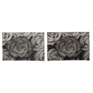 白黒のバラの枕箱 枕カバー