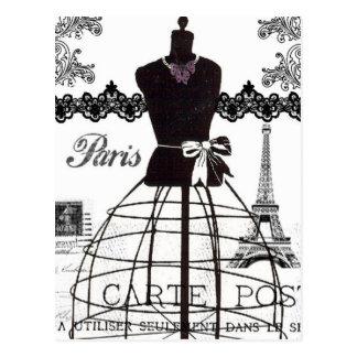 白黒のパリのファッションのマネキン ポストカード