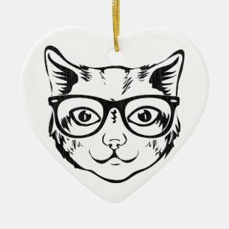 白黒のヒップスター猫 セラミックオーナメント