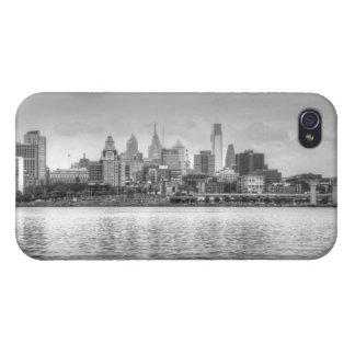 白黒のフィラデルヒィアのスカイライン iPhone 4 COVER
