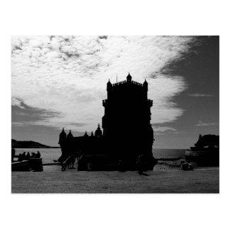 白黒のベレンタワーのシルエット| Torreベレン ポストカード