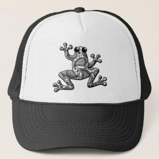 白黒のペイズリーの登山のカエル キャップ