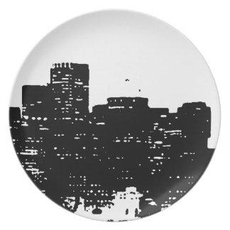 白黒のポップアートニューヨークシティ プレート