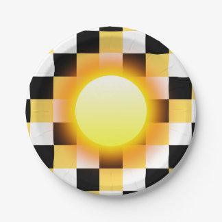 白黒のマスタードの正方形の白熱日曜日 ペーパープレート