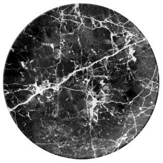 白黒のモダンでシックな大理石の質パターン 磁器プレート