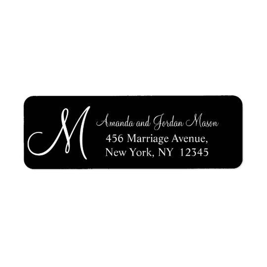 白黒のモノグラムのな結婚式の宛名ラベル 返信用宛名ラベル