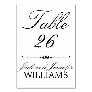 白黒のモノグラムの結婚式のテーブル数カード