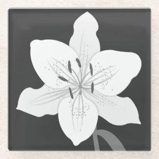 白黒のワスレグサの絵(灰色で) ガラスコースター